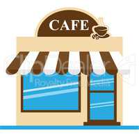 Cafe Shop Means Brewed Coffee 3d Illustration