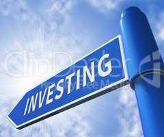 Investing Sign Meaning Roi Shares 3d Illustration