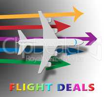 Flight Deals Representing Airplane Sale 3d Illustration