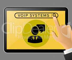 Voip Systems Tablet Represents Internet Voice 3d Illustration