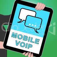 Mobile Voip Key Showing Broadband Telephony 3d Illustration