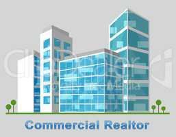 Commercial Realtor Downtown Describes Real Estate 3d Illustratio