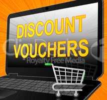 Discount Vouchers Laptop Means Saving Money 3d Illustration