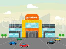 Market Shops Showing Grocery Shopping 3d Illustration