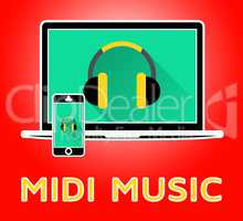 Midi Music Shows Electronic Synthesizer 3d Illustration