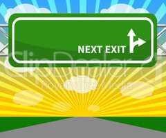 Blank Sign Shows Next Exit 3d Illustration