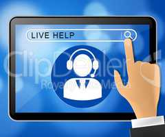 Live Help Tablet Representing Immediate Help 3d Illustration