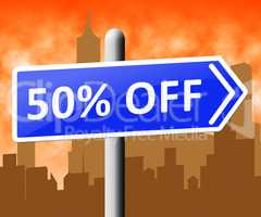 Fifty Percent Off Indicating Half Price 3d Rendering