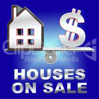Houses On Sale Means Sell House 3d Rendering