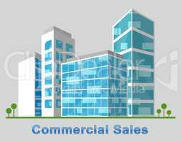 Commercial Sales Downtown Describes Real Estate 3d Illustration