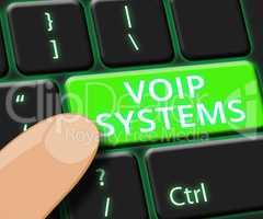 Voip Systems Key Shows Internet Voice 3d Illustration