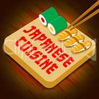 Japanese Cuisine Showing Japan Food 3d Illustration