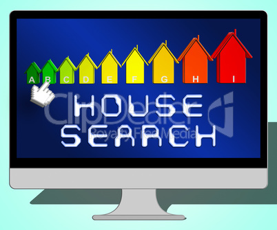 House Search Representing Housing Residence 3d Illustration