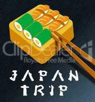 Japan Trip Showing Japanese Cuisine 3d Illustration