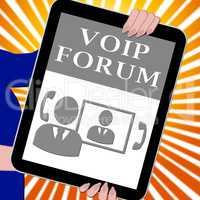 Voip Forum Tablet Showing Internet Voice 3d Illustration