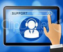 Support Tablet Shows Online Assistance 3d ILlustration