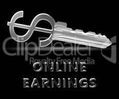 Online Earnings Means Internet Revenue 3d Illustration
