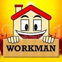 Workman Laborer Shows Building Worker 3d Illustration
