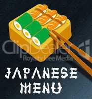 Japanese Menu Showing Japan Cuisine 3d Illustration