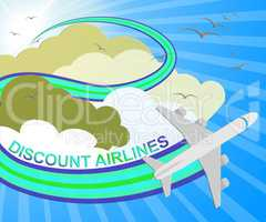 Discount Airlines Showing Special Offer Flights 3d Illustration