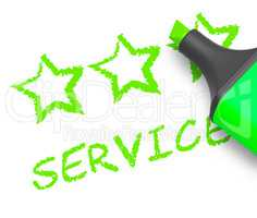 Service Stars Means Help Review 3d Illustration