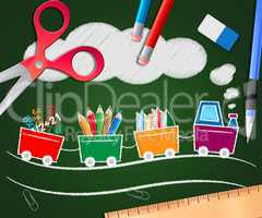 Stationery Supplies Picture Shows School Materials 3d Illustrati