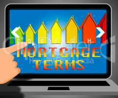Mortgage Terms Representing Housing Loan 3d Illustration