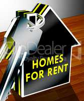Homes For Rent Shows Real Estate 3d Rendering