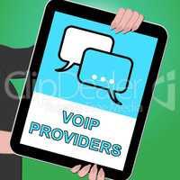 Voip Providers Tablet Shows Internet Voice 3d Illustration