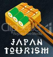 Japan Tourism Showing Japan Cuisine 3d Illustration