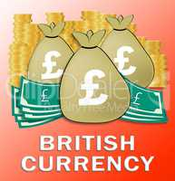 Pound Bags Shows British Currency 3d Illustration