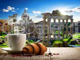 Coffee break in Roman Forum