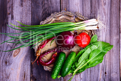 Fresh vegetables  on an iron copper plate