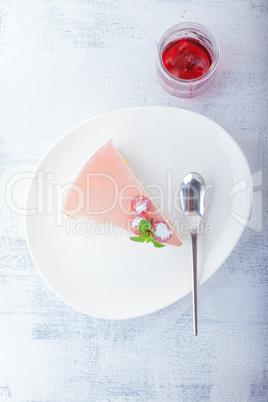 Piece of raspberry yogurt cake