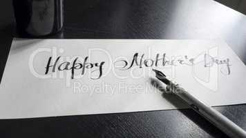 Happy Mother's day calligraphy and lattering post card. Perspective view.