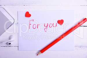 Letter with an inscription in red pencil for you