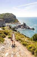 Woman hiking in the Cinque Terre and Portovenere