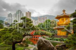 Golden Pavilion in Hong Kong City and Overcast
