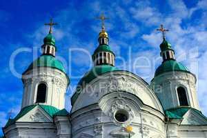 Beautiful Spaso-Preobrazhenska church in Kozelets in Ukraine