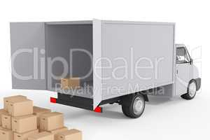 Delivery truck with packages, 3d illustration