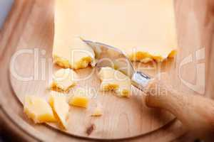 Parmesan cheese and knife
