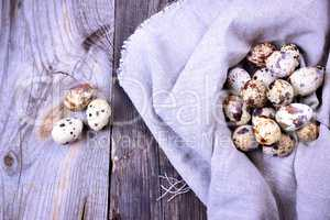 quail eggs in a gray textile napkin