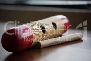 Close up of musical instrument on wooden table
