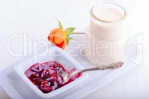 Yogurt and plum jam