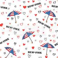 Travel USA seamless pattern. Love New York City background. Hear