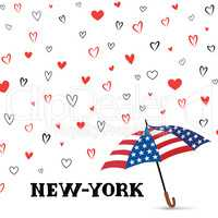 Travel USA background. Love New York City pattern. Heart backgro