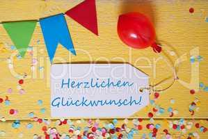 Party Label, Confetti, Balloon, Herzlichen Glueckwunsch Means Congratulations