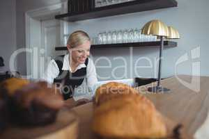 Waitress using laptop at counter