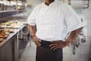 Mid section of chef standing with hands on hip in commercial kitchen