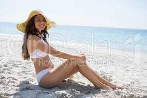 Portrait of beautiful woman wearing sunhat